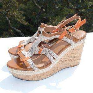 Lucky Brand Keena Orange Snakesking Wedge Sandals